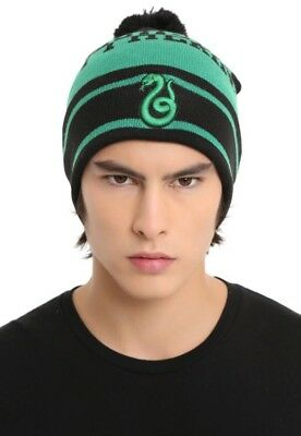 1d06348f766 Harry Potter Slytherin Embroidered Snake Striped Pom Beanie Hat Ski Cap NWT!