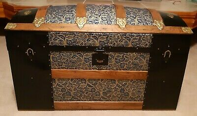Antique 1880's Dome Top Raised Floral Pattern Steamer Trunk-Beautifully Restored