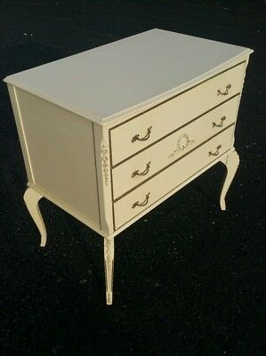 Vintage french wooden painted Louis XV style chest of 3 drawers