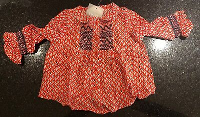 Next Baby Girl Gorgeous Red  Floral Smocked Detail Blouse/tunic  🌺 3-6 BNWT