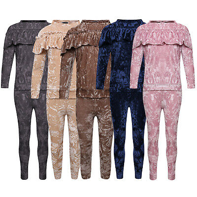 Girls Kids Crushed Velvet Frill Lounge Suit Velour Tracksuit Jogsuit New  5-13
