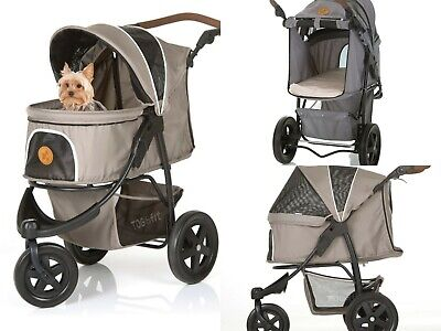 New Luxury Pet Stroller Pushchair Taupe Grey Dog Cat Tear Resistant Nets Outdoor
