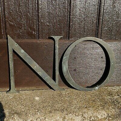 "Pair of Large Vintage Antique 12"" Bronze Letters N & O  - Decorative Salvage"