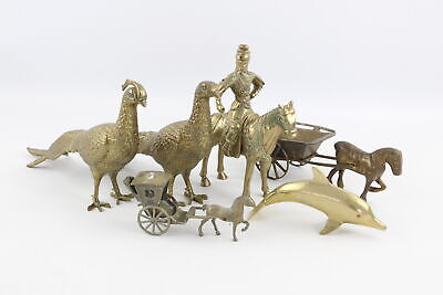 6 x Vintage Decorative BRASS Animals Inc. Dolphin, Peacocks, Pheasants (6234g)