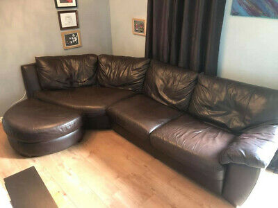 Brown Leather Corner Sofa With Pouffe