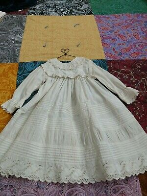 """Antique Childs White Cotton Dress with pintucks, lace insert etc. 18"""" Chest"""