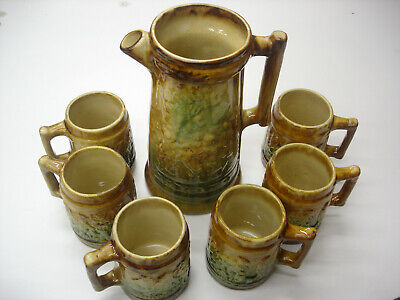 Beautiful Decorative Old Antique Ware Pottery Very Heavy & Rare 6 Mugs & Pitcher