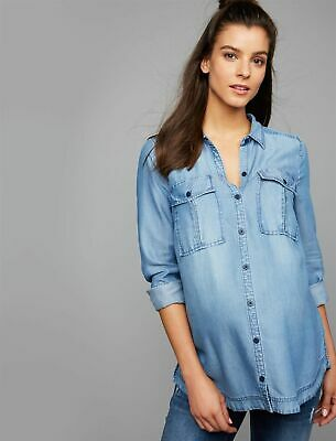 Luxe Led jean faded denim whitewash jacket shirt Pea in the Pod S