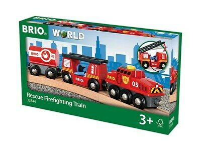 Brio Wooden Railway Trains Rescue Firefighting Train 4 Pieces Age 3+ 33844 Boxed