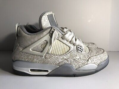 free shipping 2c1c2 6f3f4 NIKE AIR JORDAN 4 IV Retro Laser White Chrome Silver 705333 105 Men XI Sz  10.5