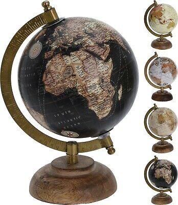 Decorative 5 Inch  Globe on Base Desktop Wooden Base Rotatable Antique World