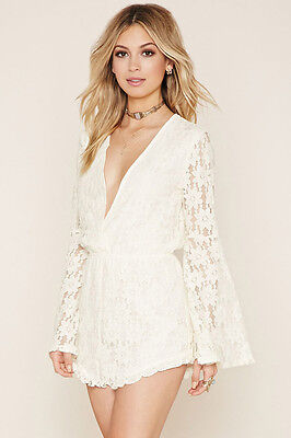 36d10d334ac3 FOREVER 21 CREAM Bell Sleeves Floral Lace Romper Medium M -  17.99 ...