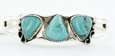$440Tag Certified Silver Navajo Natural Turquoise Native American Bracelet 12763