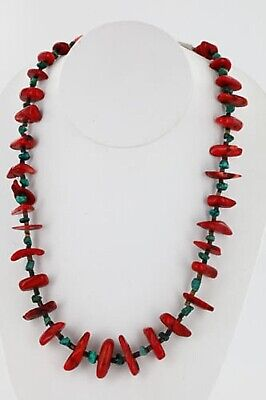 $280Tag Certified Silver Navajo Graduated Coral Turquoise Necklace 15825-2