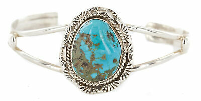 $480Tag Certified Silver Navajo Natural Turquoise Native American Bracelet 12648