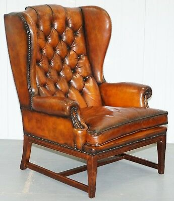 Stunning Whisky Brown Leather Chesterfield Wingback Armchair Feather Cushion
