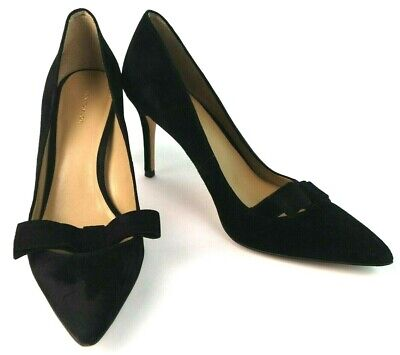 6386507f907 Ann Taylor Womens Shoes Size 8 M Black Pump Pointed Toe Bow Heels Leather  Velour