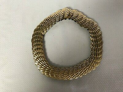 Vintage Women's Gold Tone Clam Shell Metal and Elastic Stretch Cinch Hook Belt