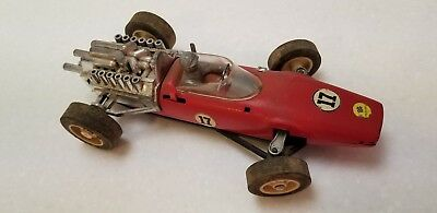 Vintage Toy Ferrari #17 Red Race Car Battery Operated Circa 1960