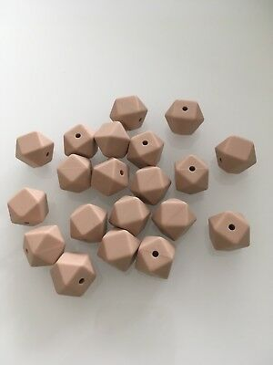bpa free silicone beads 14mm Hexagon 20pcs Natural