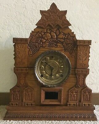 "1902 WM Gilbert Company ""Champion N"" Oak Gingerbread Mantel Clock"