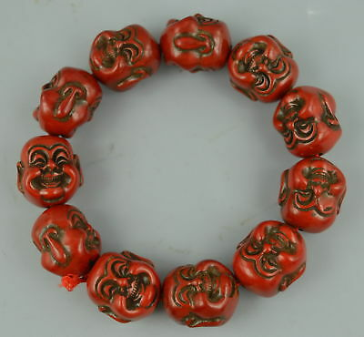 AAA Fine China Decor Coral Carve Double-Face Buddha Head Amulet Lucky Bracelet