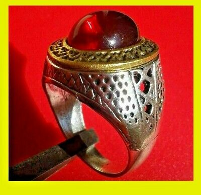 Extremely Ancient Antique Rare Vintage Ring Viking silver Artifact Quality red S