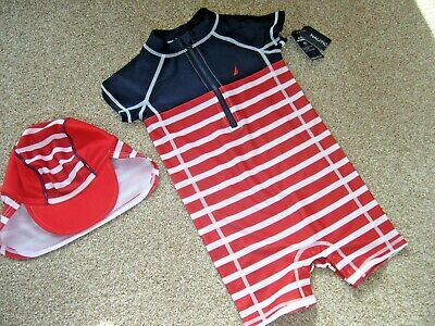 Bnwt One Piece Uv Protection Swim Suit With Hat 24 Months By Nautica