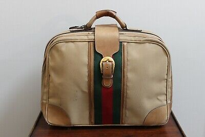 3e4a5e374510 Authentic Vintage GUCCI Bag Suitcase Carry On Travel Luggage Unisex Green  Red