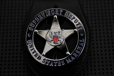 Cosplay Uniform US Marshal Silver Badge Police with Belt clip Holder