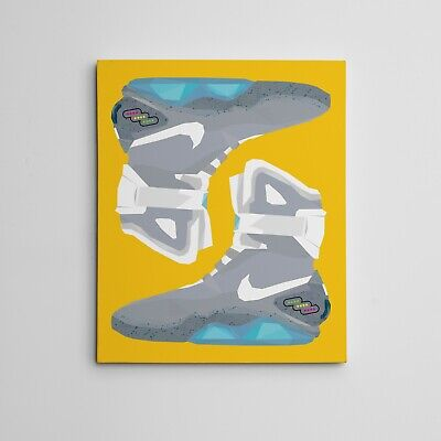 """16x20"""" Gallery Art Canvas: Nike Air Mag """"Back To The Future"""" Sneaker Artwork"""