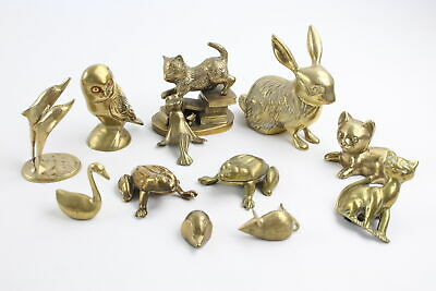 12 x Vintage Decorative BRASS Animals Inc. Cats, Frogs, Rabbits, Dolphins 3067g
