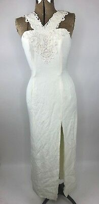 Vintage Bridal Originals Wedding Gown Dress Ivory Form Fitting Slit Beaded Zip
