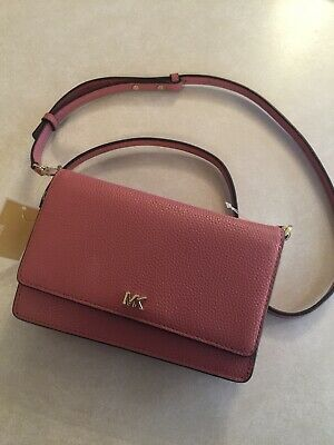 6836f0223ba2 Michael Kors Leather Phone Crossbody Wallet Rose 32T8TF5C9T-622 MSRP  1258