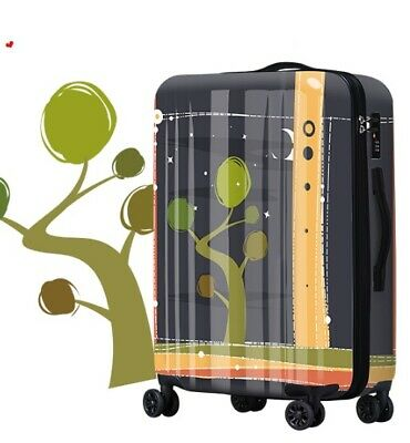 D544 Lock Universal Wheel Black Abstract Travel Suitcase Luggage 20 Inches W