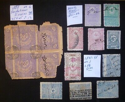 Turkey Ottoman revenue document stamps lot (1891-1906)