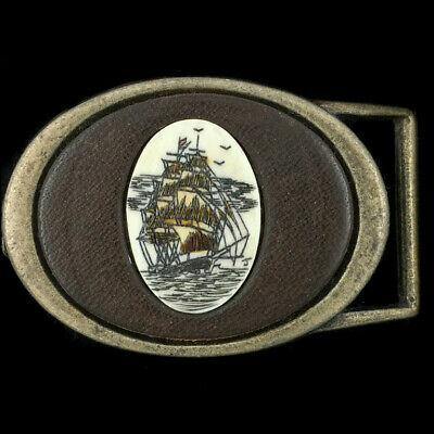 Vtg Clipper Ship Nautical Scrimshaw Leather Nature Art Artwork Belt Buckle