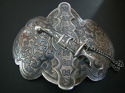 A Fine Antique Hand Made Outstanding Russian Silver Niello Enameled Buckle