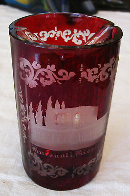 A Rare Antique Bohemian Engraved Divided Into 2 Sections Chrystal Cut Glass Cup