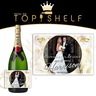 Personalised Wedding engagement congratulations photo prosecco / champagne label