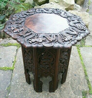 Antique  Chinese Hexagonal  Fully Carved Folding Side  Table