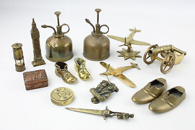 15 x Vintage Decorative BRASS Inc. Aeroplanes, Japanese Box, Ash Tray (3017g)