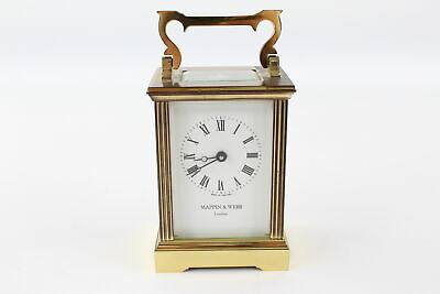 Vintage MAPPIN & WEBB BRASS Cased Carriage Clock Key-Wind WORKING (1034g)