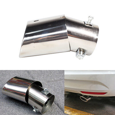 Universal Car Exhaust Tail Muffler Tip Pipe Curved  Sliver Tippipe Round Turbo