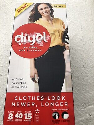 NEW Dryel At-Home Dry Cleaner Refill, Cleans 8 Loads, Up To 40 Garments, SEALED