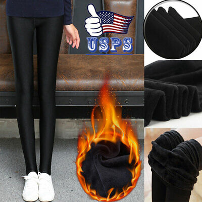 Winter Girl Women Thermal Thick Warm Lined Fur Slimming Pencil Leggings Pants US
