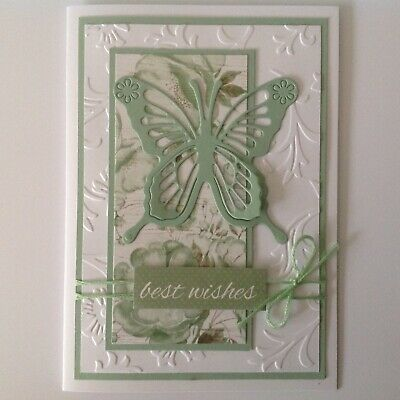 HANDMADE BIRTHDAY CARD Beautiful Butterfly With Sage Green