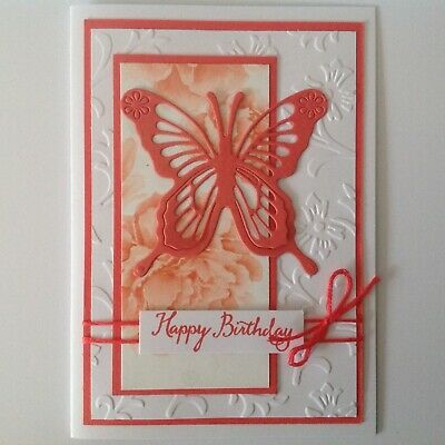 Handmade Birthday card: Beautiful butterfly with watermelon.