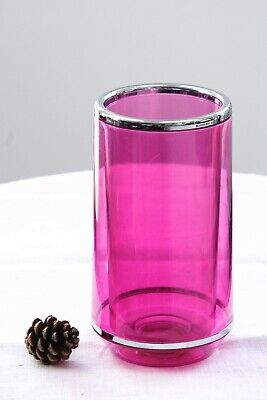 Wine Bottle Cooler - Plastic & Chrome Trim Clear Pink Thermo Chiller Bar Bucket