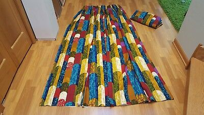 Awesome RARE Vintage Mid Century retro 70's pair of colorful fabric curtains!!